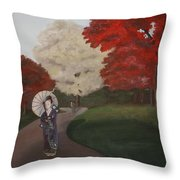 Autumn Geisha Throw Pillow