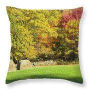 Autumn Hay Being Harvested In Maine Throw Pillow