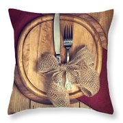 Autumn Table Setting Throw Pillow