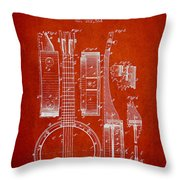 Banjo Patent Drawing From 1882 - Red Throw Pillow