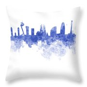 Barcelona Skyline In Watercolour On White Background Throw Pillow