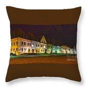 Bardejov At Night Throw Pillow