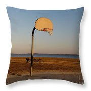Basketball Goal At Sandy Point Throw Pillow
