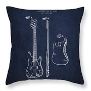 Bass Guitar Patent Drawing From 1960 Throw Pillow
