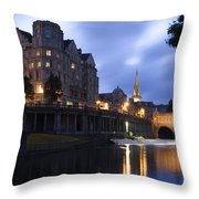 Bath City Spa Viewed Over The River Avon At Night Throw Pillow