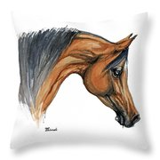 Bay Arabian Horse Watercolor Painting  Throw Pillow
