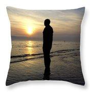 Beach Sculpture At Crosby Liverpool Uk Throw Pillow
