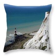 Beachy Head Cliffs And Lighthouse  Throw Pillow