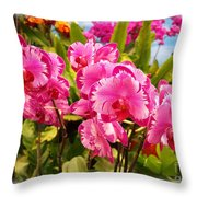 Beautiful Array Of Purple Butterfly Orchids Throw Pillow