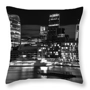 Beautiful Black And White Image Of London City At Night With Lov Throw Pillow