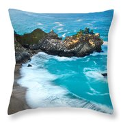 Beautiful Mcway Falls Along The Big Sur Coast. Throw Pillow