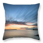 Beautiful Vibrant Sunrise Sky Over Calm Water Ocean With Lightho Throw Pillow