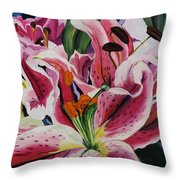 Becky's Lilies Throw Pillow