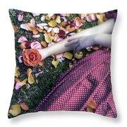Bedded In Petals Throw Pillow