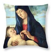 Bellini's Madonna And Child In A Landscape Throw Pillow