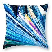 Benzoic Acid Crystals In Polarized Light Throw Pillow