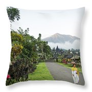 Besakih Temple And Mount Agung View In Bali Indonesia Throw Pillow