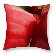 Big Red Peppers And Strawberries  Throw Pillow
