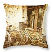 Bikes And A Window Throw Pillow
