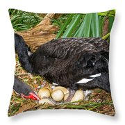 Black Swan At Nest Throw Pillow