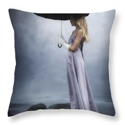 Black Umbrella Throw Pillow