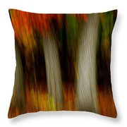Blazing In The Woods Throw Pillow