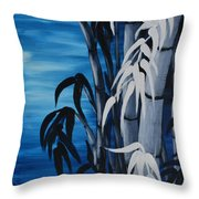 Blue Bamboo Throw Pillow by Holly Donohoe
