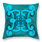 Blue Double Scroll Throw Pillow