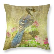 Blue Jay With Texture Throw Pillow