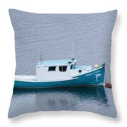 Blue Moored Boat Throw Pillow