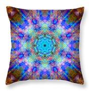 Blue Rainbow Star Mandala Throw Pillow