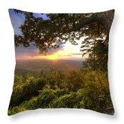 Blue Ridge Mountain Sunset Throw Pillow