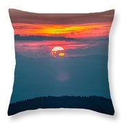 Blue Ridge Parkway Autumn Sunset Over Appalachian Mountains  Throw Pillow