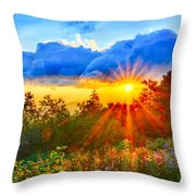 Blue Ridge Parkway Late Summer Appalachian Mountains Sunset West Throw Pillow