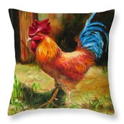 Blue-tailed Rooster Throw Pillow