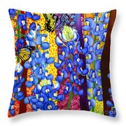 Bluebonnet Garden Throw Pillow
