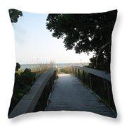 Boardwalk To The Beach Throw Pillow