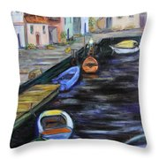 Boats In Front Of The Buildings IIi Throw Pillow