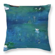 2 Boats In The Lily Pond Throw Pillow