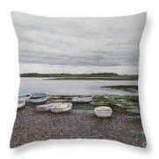Boats On The Estuary Throw Pillow