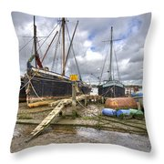 Boats On The Hard At Pin Mill Throw Pillow
