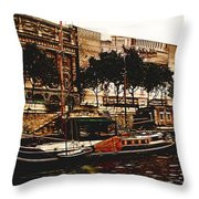 Boats On The Seine Throw Pillow