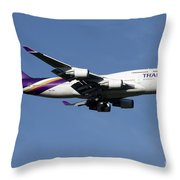 Boeing 747-400 Of Thai International Throw Pillow