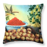 Bond's Still Life Of Bird And Dwarf Pear Tree Throw Pillow