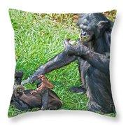 Bonobo Adult And Baby Throw Pillow