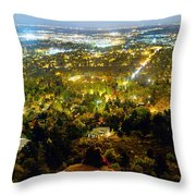 Boulder Colorado City Lights Panorama Throw Pillow