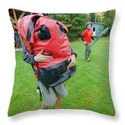 Boy Scouts Canoeing On The Bowron Lakes Throw Pillow