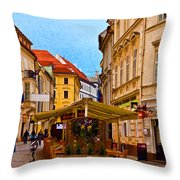 Bratislava Old Town Throw Pillow