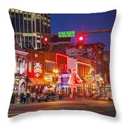 Broadway Street Nashville Throw Pillow