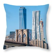 Brooklyn Bridge And New York City Manhattan Skyline Throw Pillow